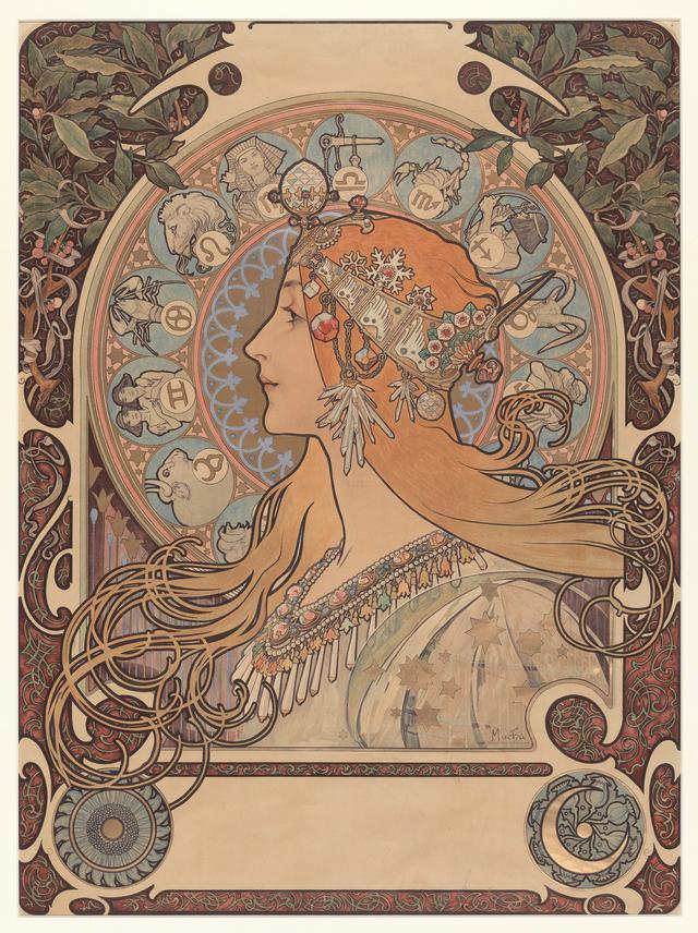 画像: アルフォンス・ミュシャ 《黄道十二宮》 1896年 ラーリトグラフ ミュシャ財団蔵 ©Mucha Trust 2020