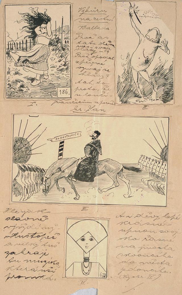 画像: アルフォンス・ミュシャ《風刺雑誌のためのページレイアウト》 1880年代 インク・紙 ミュシャ財団蔵 ©Mucha Trust 2020