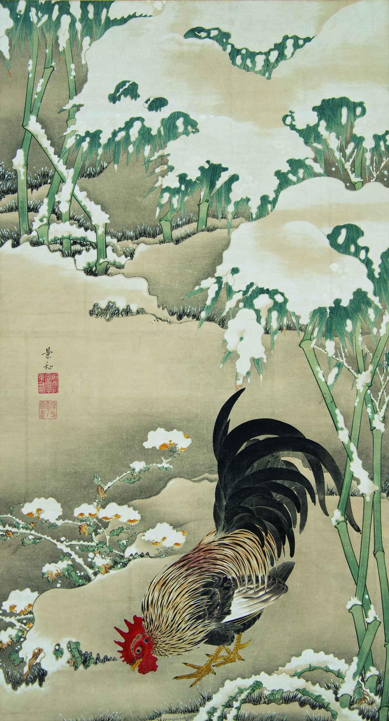 画像: 伊藤若冲「雪中雄鶏図」 細見美術館 後期(10月27日~12月20日)展示です。