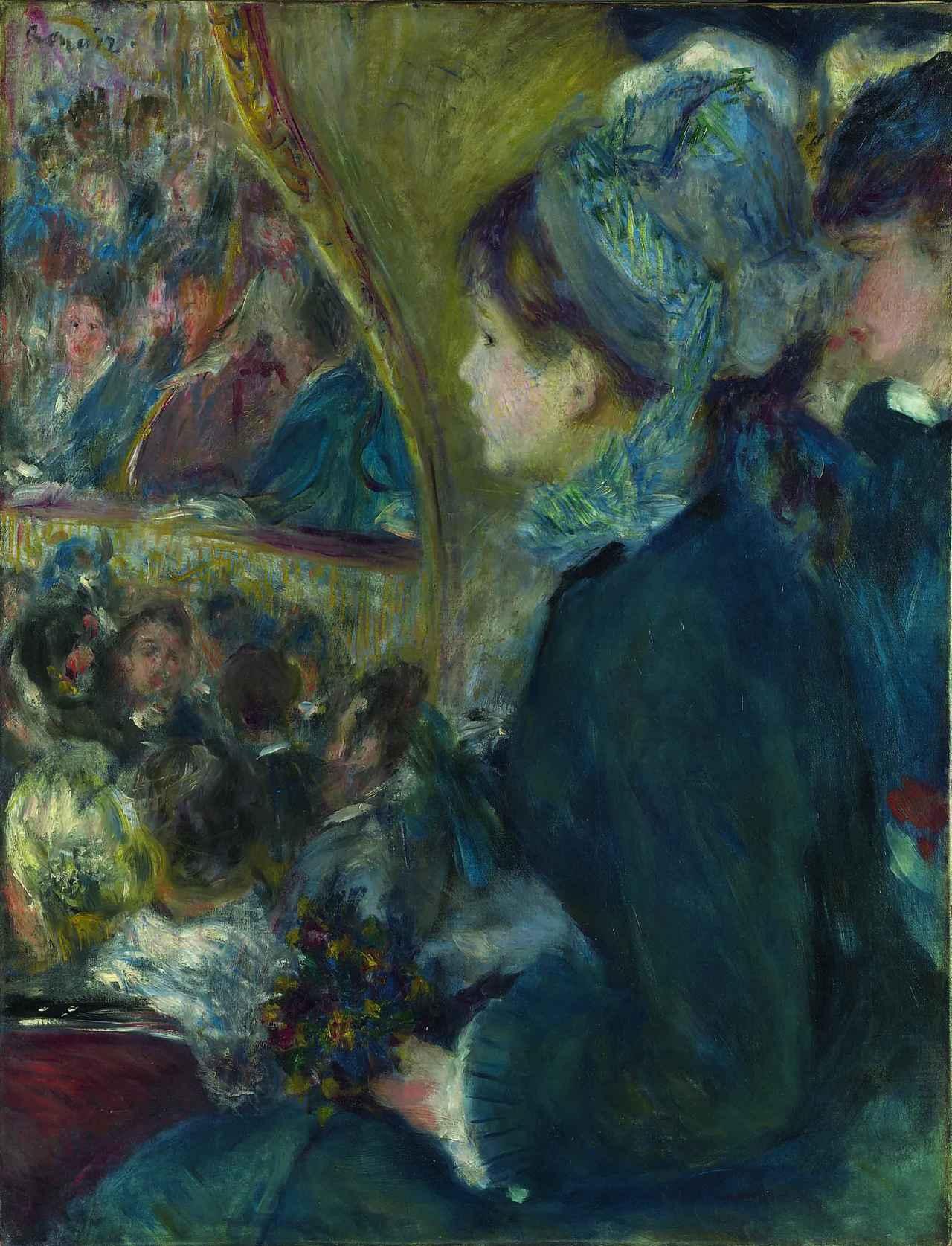 画像: ピエール=オーギュスト・ルノワール 《劇場にて(初めてのお出かけ)》 1876-77年 油彩・カンヴァス 65×49.5cm ©The National Gallery, London. Bought, Courtauld Fund, 1923