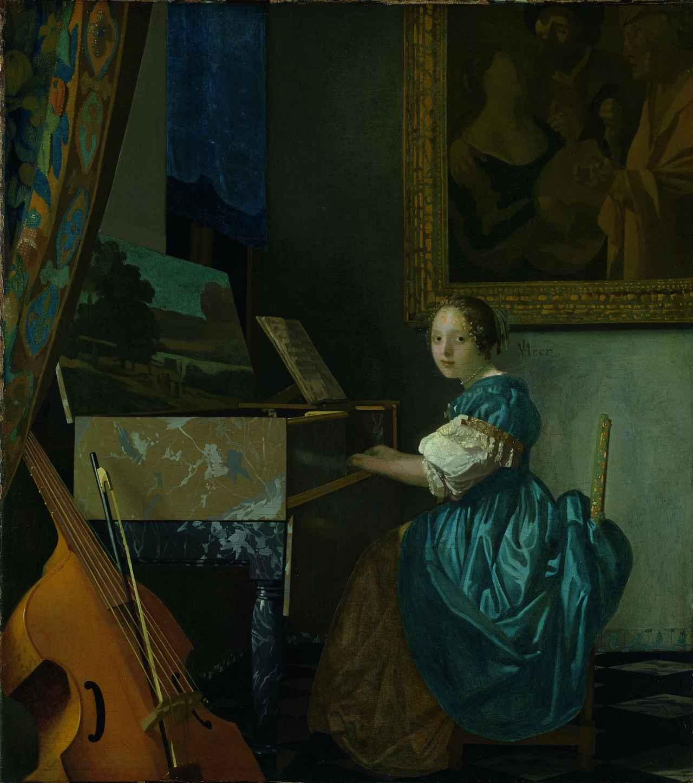 画像: ヨハネス・フェルメール 《ヴァージナルの前に座る若い女性》 1670-72年頃 油彩・カンヴァス 51.5×45.5cm  ©The National Gallery, London. Salting Bequest, 1910