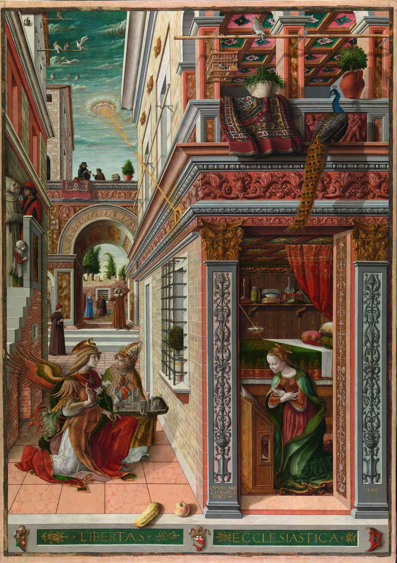 画像: カルロ・クリヴェッリ 《聖エミディウスを伴う受胎告知》 1486年 卵テンペラ・油彩・カンヴァス 207×146.7cm ©The National Gallery, London. Presented by Lord Taunton, 1864