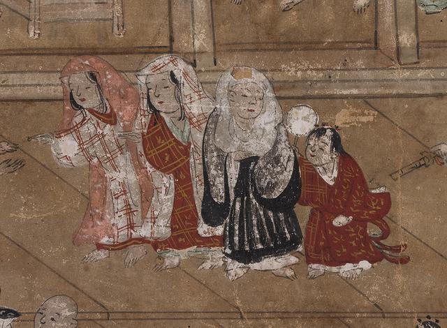 画像: 東山名所図屏風(第 2 扇)(部分)16 世紀後半 国立歴史民俗博物館蔵