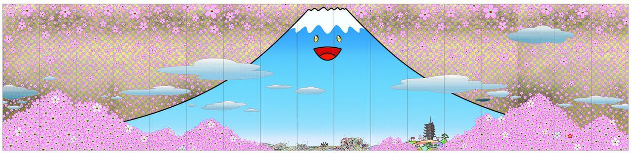 画像: 村上 隆《チェリーブロッサム フジヤマ JAPAN》2020年 アクリル絵具、キャンバス 500× 2,125 cm