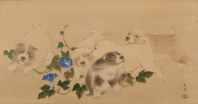 画像: 《朝顔狗子図》円山応瑞筆 一幅 江戸時代 相国寺蔵