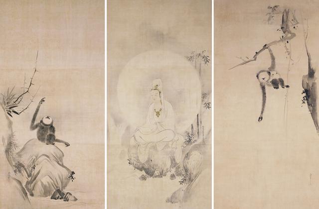 画像: 《観音図》狩野探幽筆 《猿猴図》狩野尚信・安信筆 三幅 江戸時代 相国寺蔵