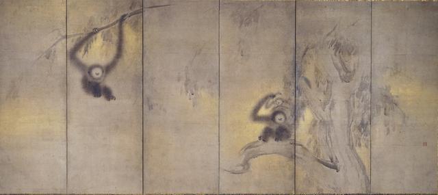 画像: 《竹林猿猴図屏風》長谷川等伯筆 六曲一双(右隻) 相国寺蔵 ※重要文化財