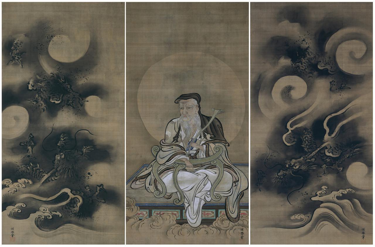 画像: 《中維摩居士左右雲龍図》狩野洞春筆 三幅対 江戸時代 相国寺蔵