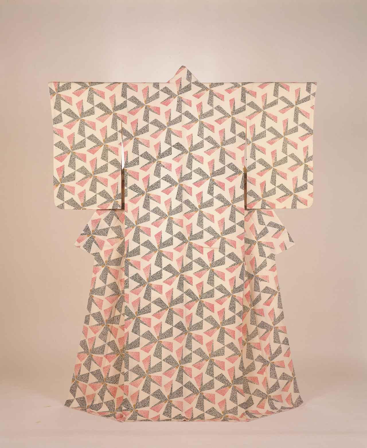 画像: 森口邦彦 《友禅着物 持合鱗漸層文様訪問着「花間」》 1970年