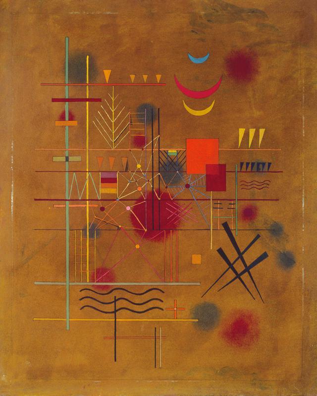 画像: ヴァシリィ・カンディンスキー 《網の中の赤》1927年  油彩、厚紙 61.0×49.0cm  横浜美術館蔵