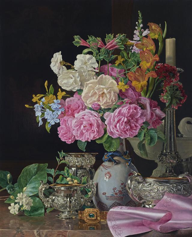 画像: フェルディナント・ゲオルク・ヴァルトミュラー 《磁器の花瓶の花、燭台、銀器》 1839年、油彩・板 © LIECHTENSTEIN. The Princely Collections, Vaduz-Vienna