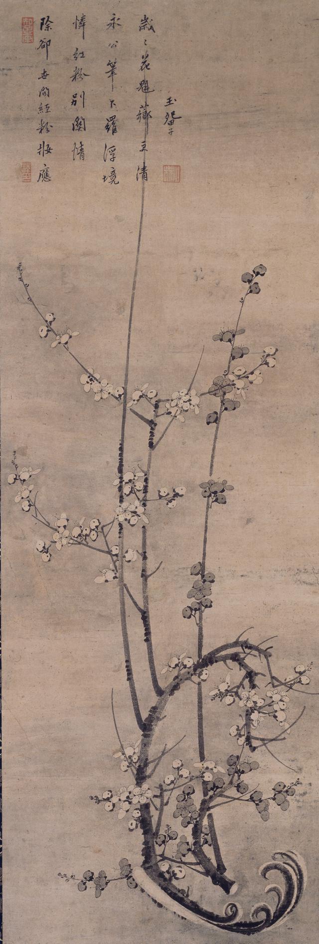 画像: 《墨梅図》 玉畹梵芳賛 一幅 紙本墨画 室町時代 十五世紀 慈照寺蔵