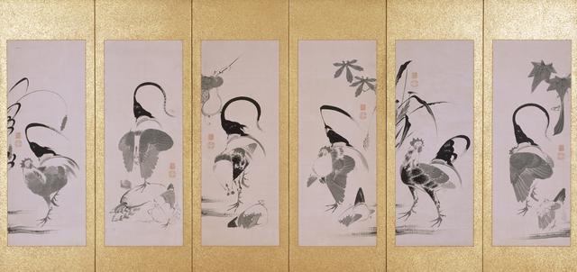 画像: 《群鶏蔬菜図押絵貼屏風》(左隻) 伊藤若冲筆 六曲一双 紙本墨画 江戸時代 相国寺蔵