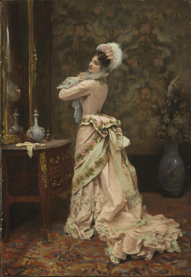 画像: ジュール・ジェーム・ルージュロン《鏡の前の装い》1877 年 油彩、カンヴァス 東京富士美術館蔵