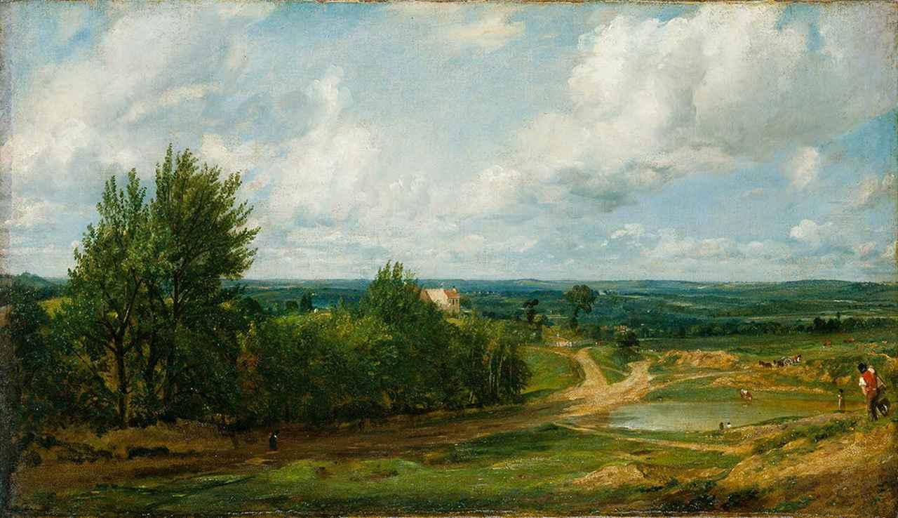 画像: ジョン・コンスタブル《ハムステッド・ヒース、「塩入れ」と呼ばれる家のある風景》1819-20年頃、油彩/カンヴァス、38.4×67.0cm、テート美術館蔵 ©Tate