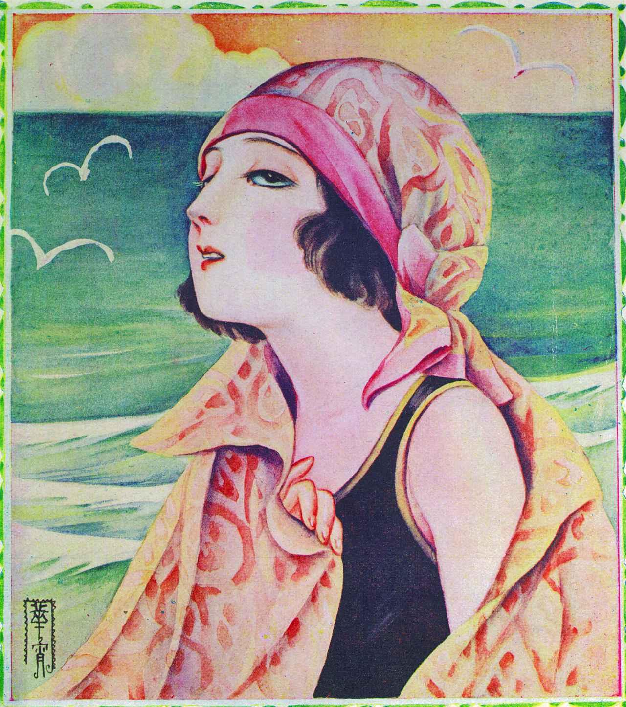 画像: 高畠華宵 《『少女画報』 大正14年8月号 表紙》 大正14(1925)年、弥生美術館、前期展示(3月23日~4月18日)