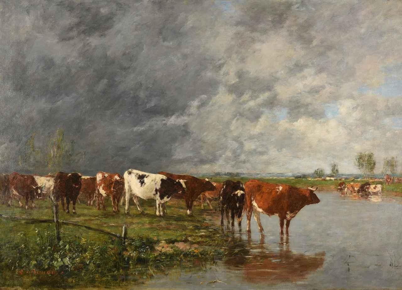 画像: ウジェーヌ・ブーダン 《水飲み場の牛の群れ》 1880-95 年 油彩/カンヴァス Inv. 907.19.33 ランス美術館蔵 ©MBA Reims 2019/ photo: C. Devleeschauwer