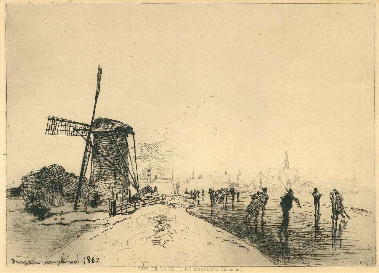 画像: ヨハン・バルトルト・ヨンキント 《オランダ、マースラン村からの眺め》 1862 年 エッチング/紙 個人蔵