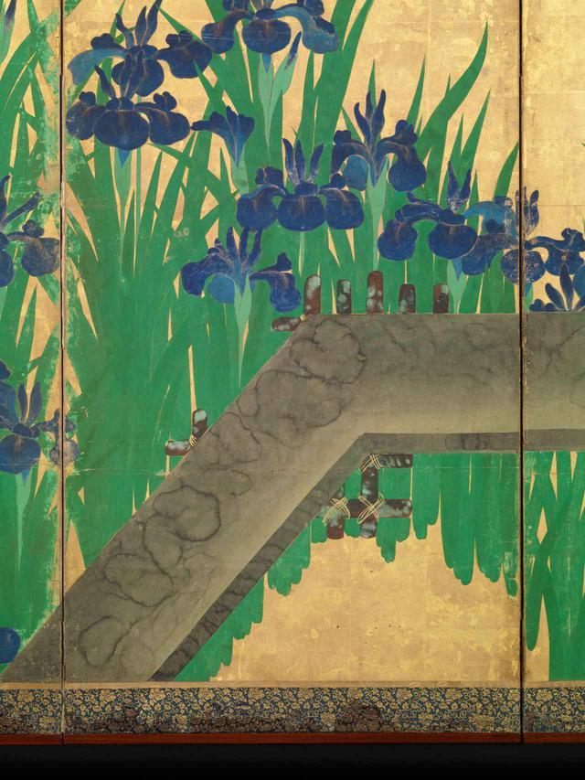 画像: 尾形光琳 八橋図屏風  ニューヨーク・メトロポリタン美術館蔵 左隻(部分) Ogata Kōrin, Irises at Yatsuhashi (Eight Bridges). Metropolitan Museum of Art (Public Domain) 橋の部分は光琳と琳派が得意とした「たらし込み」の技法が駆使され、リアルな質感でありながら抽象的 ✳︎本展の展示作品ではありません