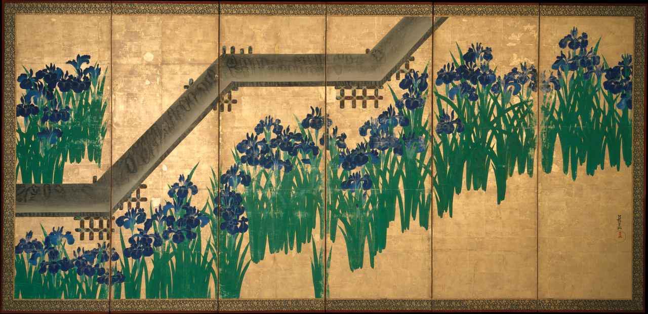 画像: 尾形光琳 八橋図屏風  江戸時代 宝永6(1709)年以降 ニューヨーク、メトロポリタン美術館蔵 右隻 Ogata Kōrin, Irises at Yatsuhashi (Eight Bridges). Metropolitan Museum of Art (Image in public domain as part of MET-API program) ✳︎本展の展示作品ではありません