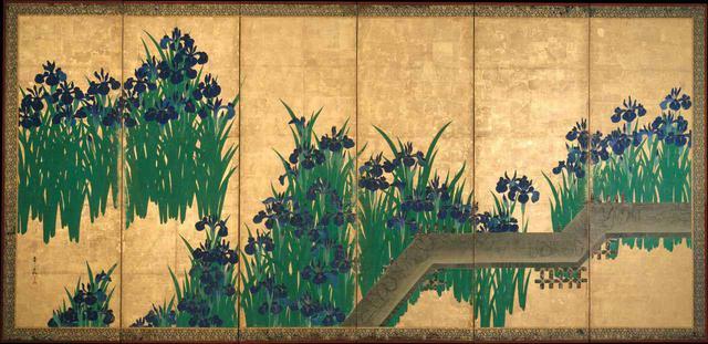 画像: 尾形光琳 八橋図屏風  ニューヨーク、メトロポリタン美術館蔵 左隻 Ogata Kōrin, Irises at Yatsuhashi (Eight Bridges). Metropolitan Museum of Art (Public Domain) ✳︎本展の展示作品ではありません