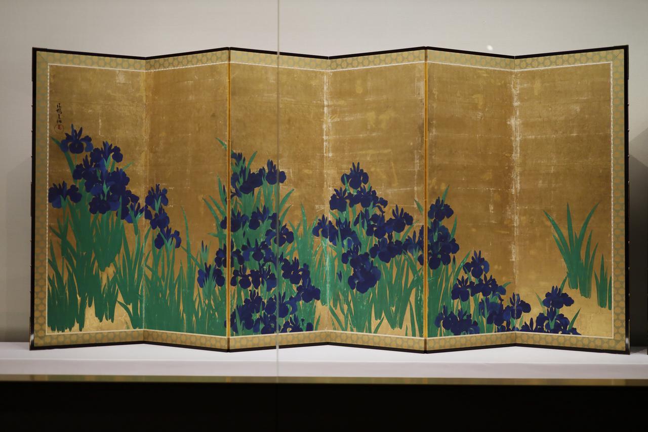 画像: 尾形光琳 燕子花図屏風 江戸時代18世紀 根津美術館蔵 国宝 左隻