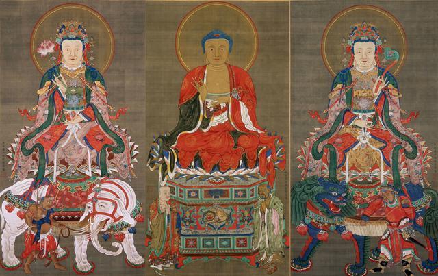 画像: 《釈迦三尊像》伊藤若冲筆 三幅 絹本著色 江戸時代 明和二年(1765) 相国寺蔵
