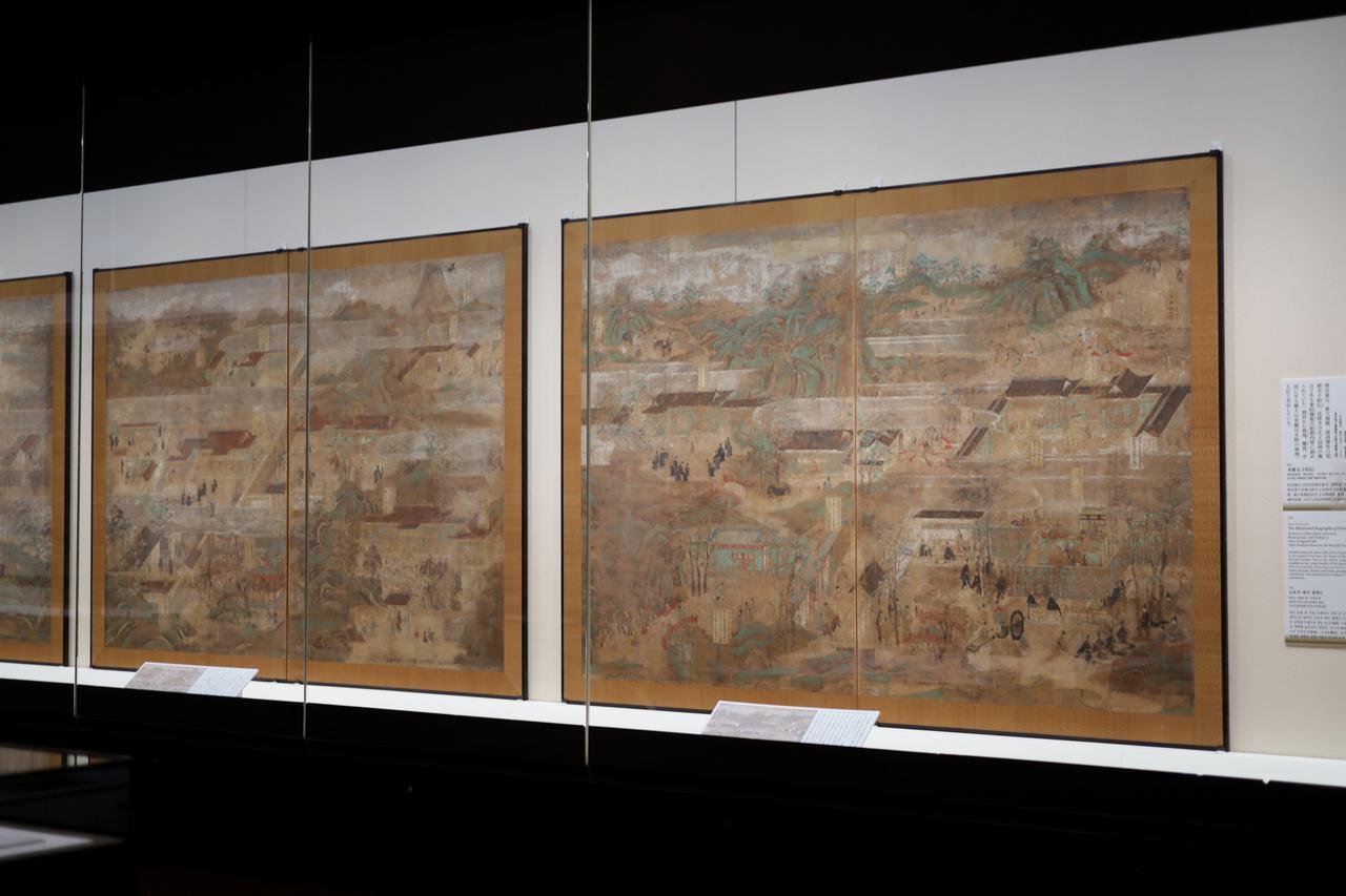 画像: 秦致貞 聖徳太子絵伝 平安時代延久元(1069)年 法隆寺東院・絵殿伝来 東京国立博物館(法隆寺献納宝物) 国宝 第1〜4面 夢殿に隣接して建てられた絵殿の内部を飾る、太子の生涯を描いた10面からなる壮大な障壁画。現在の絵殿には江戸時代の模写がはめられている。