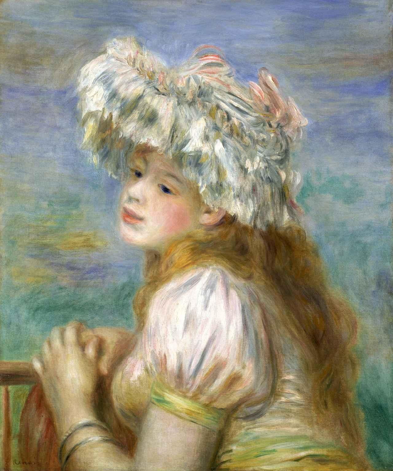 画像: ピエール・オーギュスト・ルノワール《レースの帽子の少女》1891年 ポーラ美術館蔵