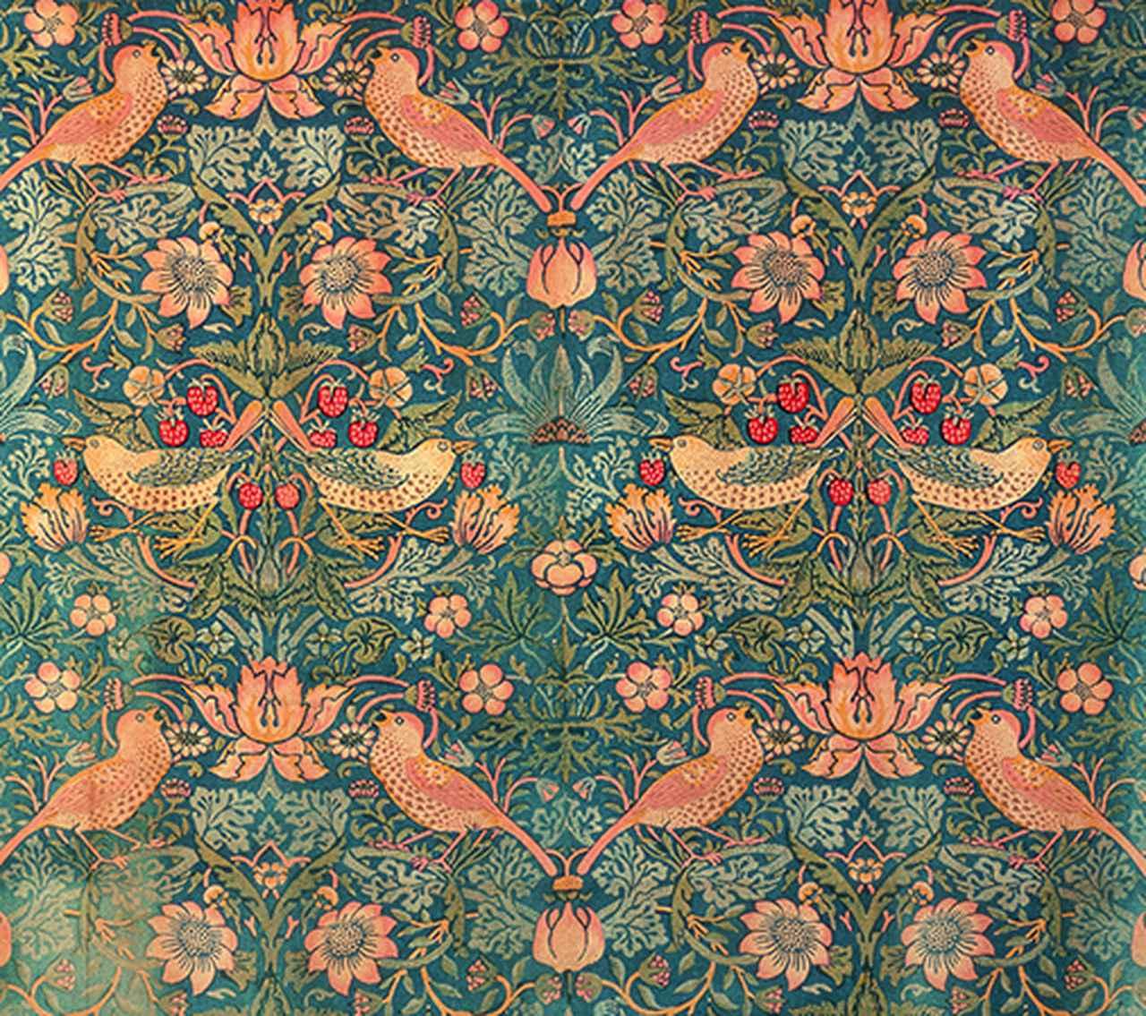 画像: 《いちご泥棒》デザイン: ウィリアム・モリス Photo ⓒBrain Trust Inc. 1883年 木版、色刷り、インディゴ抜染、木綿(内装用ファブリック)92.5 x 98 cm モリス商会