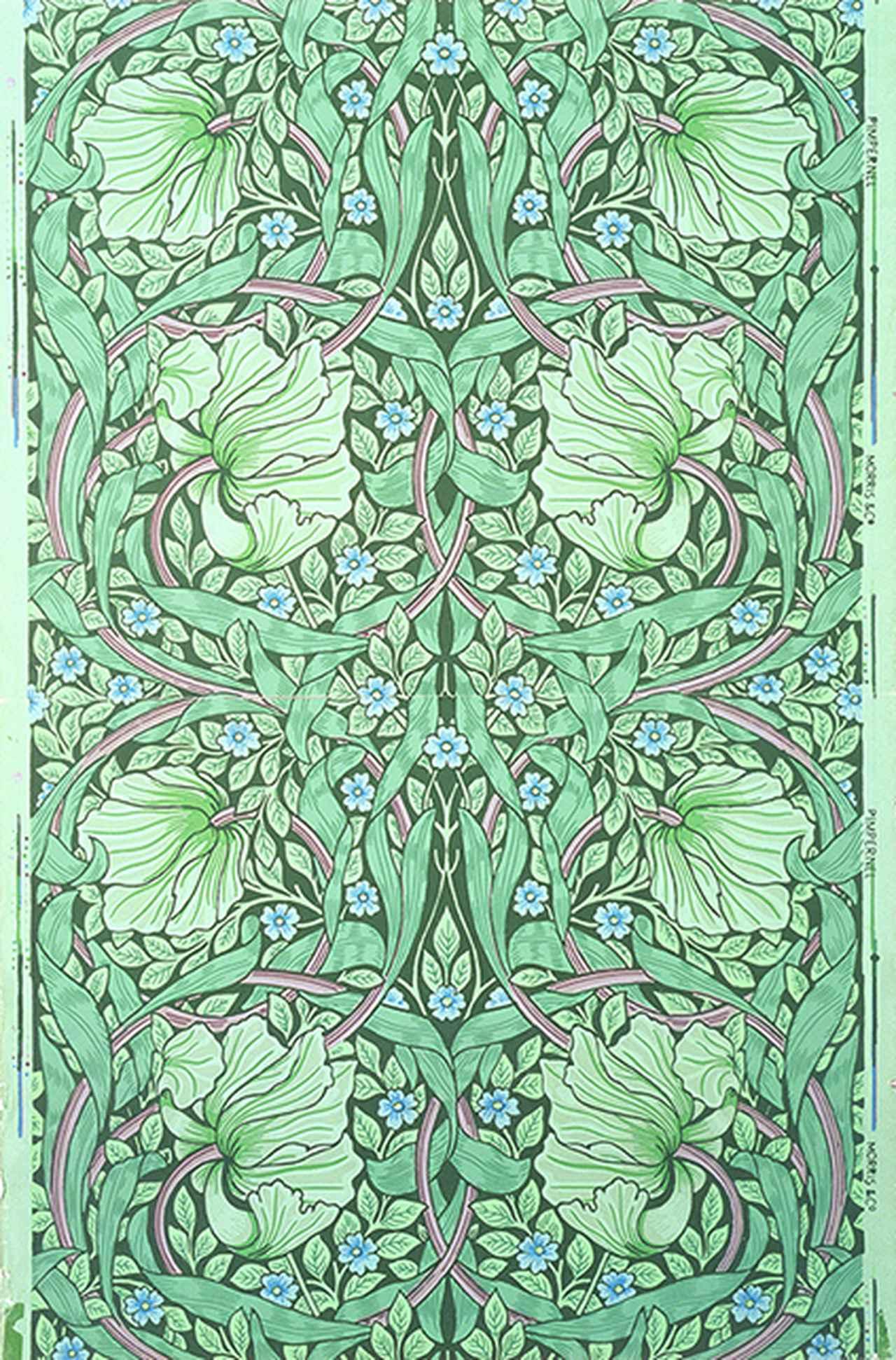 画像: 《るりはこべ》デザイン: ウィリアム・モリス Photo ⓒBrain Trust Inc. 1876年 木版、色刷り(壁紙)84.5 x 55.5 cm モリス商会
