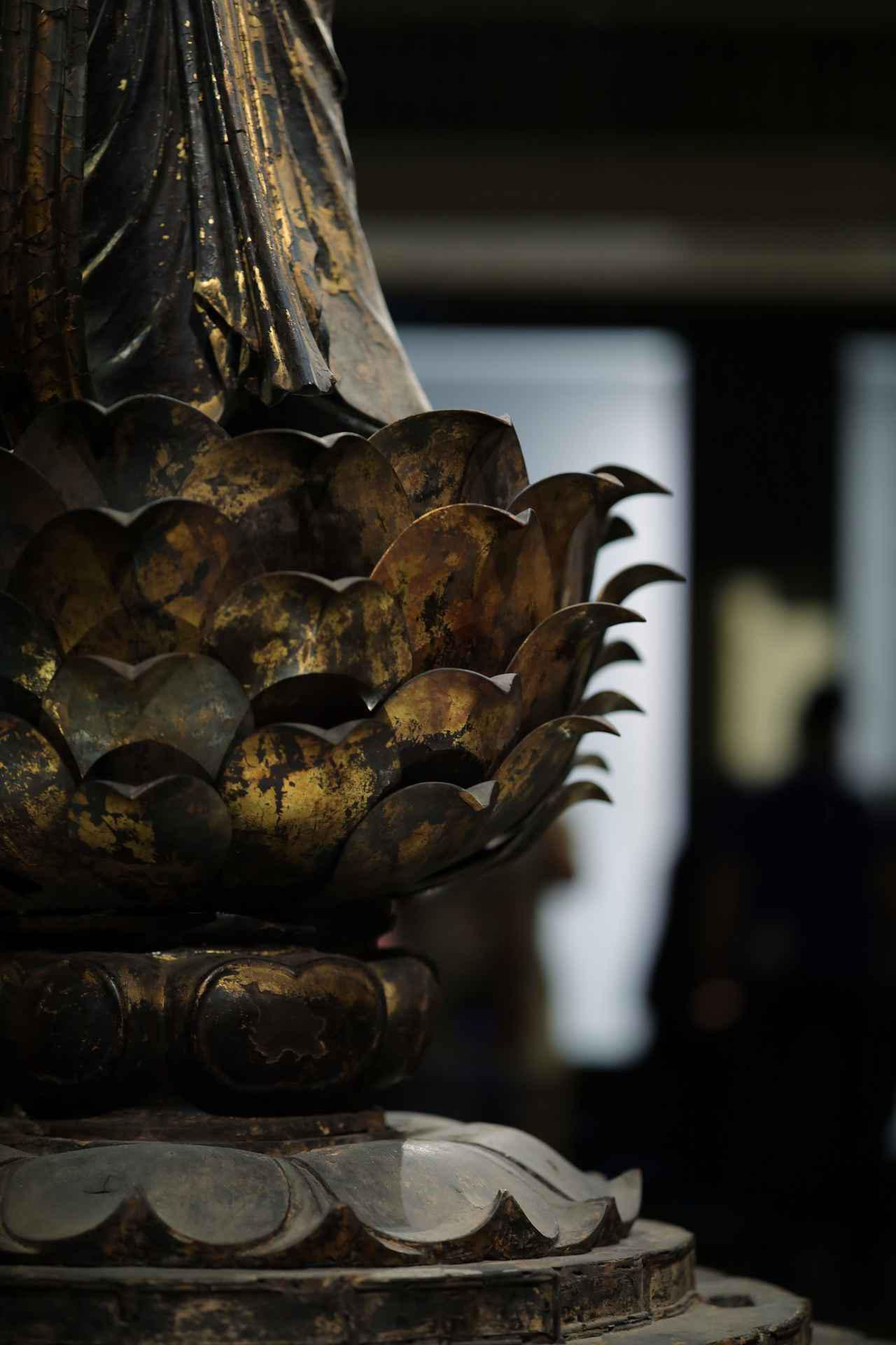 画像: 国宝 十一面観音菩薩立像 奈良時代8世紀 奈良・聖林寺 部分・台座(蓮台)