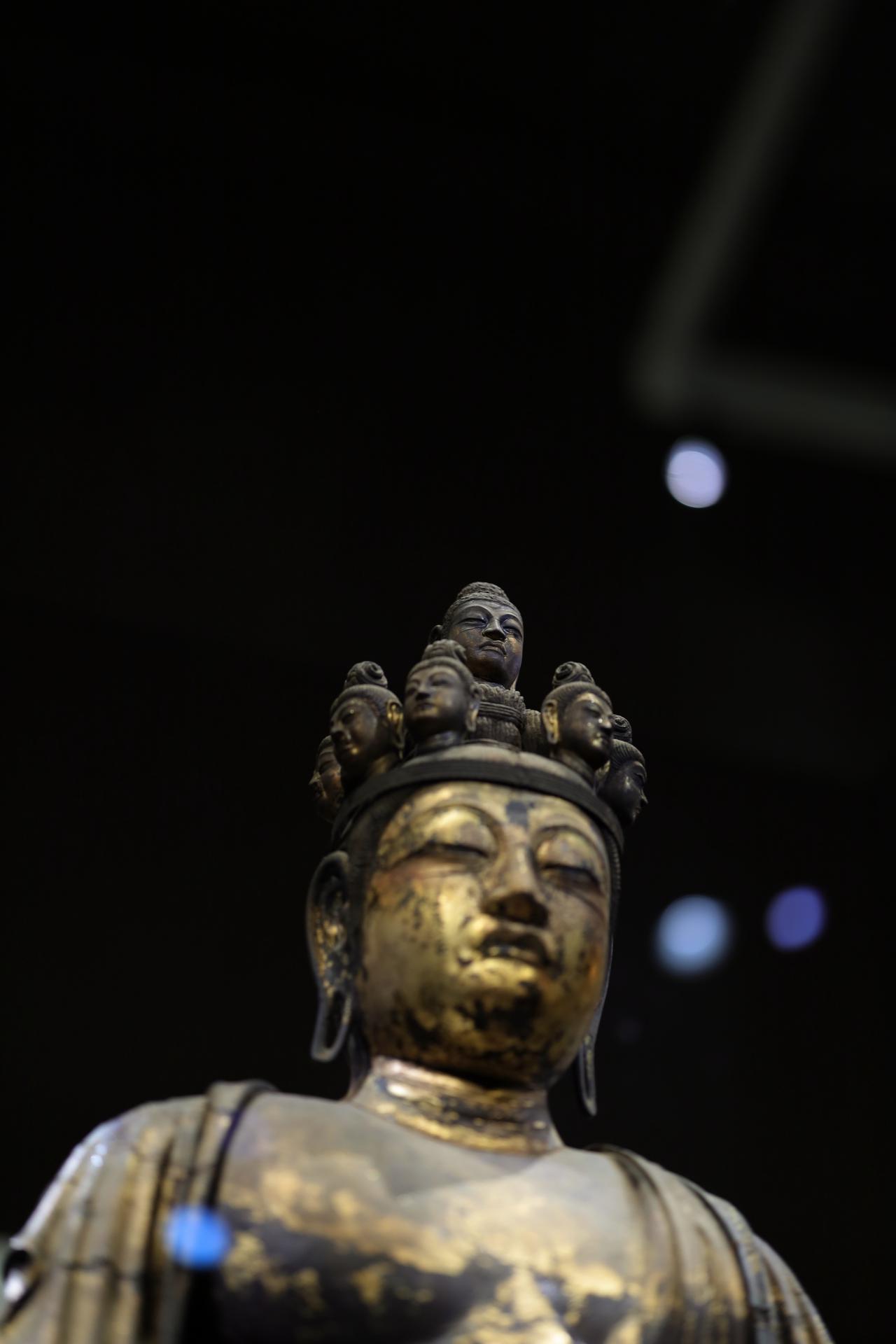 画像: 国宝 十一面観音菩薩立像 (部分・頭頂面) 奈良時代・8世紀 奈良・聖林寺蔵
