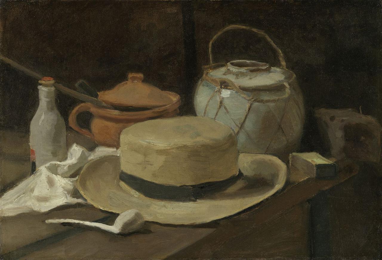 画像: フィンセント・ファン・ゴッホ 《麦わら帽子のある静物》 1881年11月後半-12月半ば 油彩、カンヴァスに貼った紙 クレラー=ミュラー美術館蔵 ©Kröller-Müller Museum, Otterlo, The Netherlands