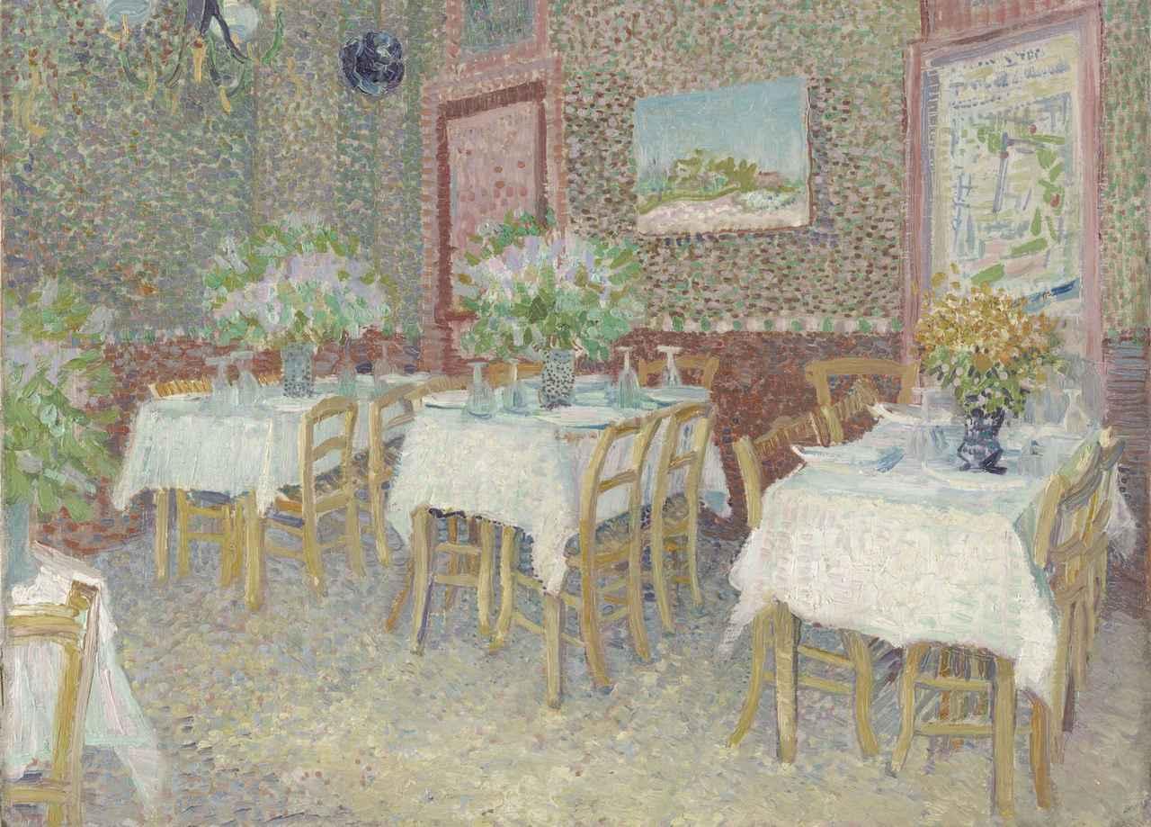 画像: フィンセント・ファン・ゴッホ 《レストランの内部》 1887年夏 油彩、カンヴァス クレラー=ミュラー美術館蔵 ©Kröller-Müller Museum, Otterlo, The Netherlands