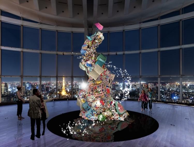 画像: エントランス展示イメージ(夜)Unforgettable Tower (C) 2021 SANRIO CO., LTD. APPROVAL NO. SP610376