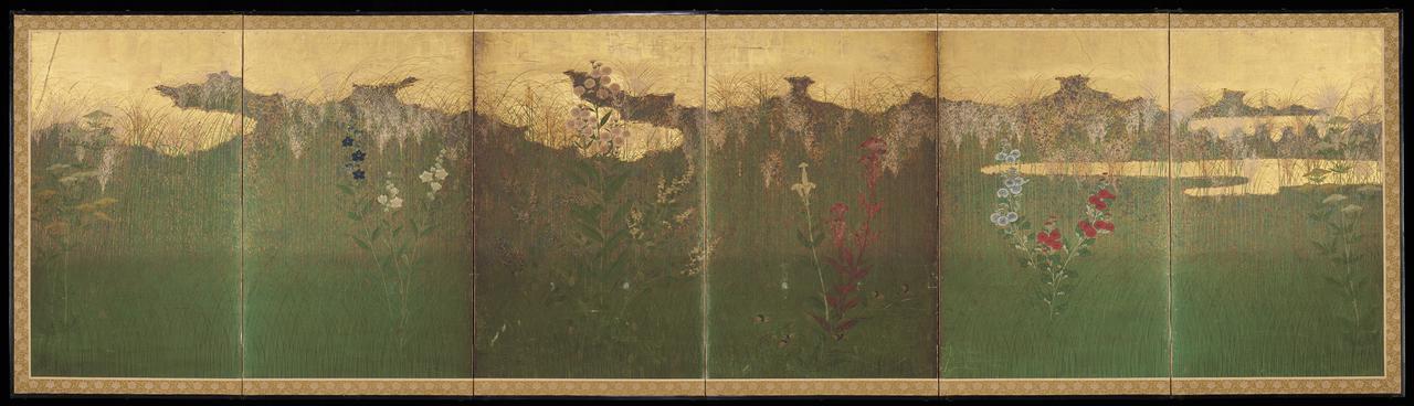 画像: 武蔵野図屏風 六曲一双、紙本金地着色 各96.4×364.5cm 江戸時代、17世紀 Mary Griggs Burke Collection, Gift of the Mary and Jackson Burke Foundation Photo: Minneapolis Institute of Art