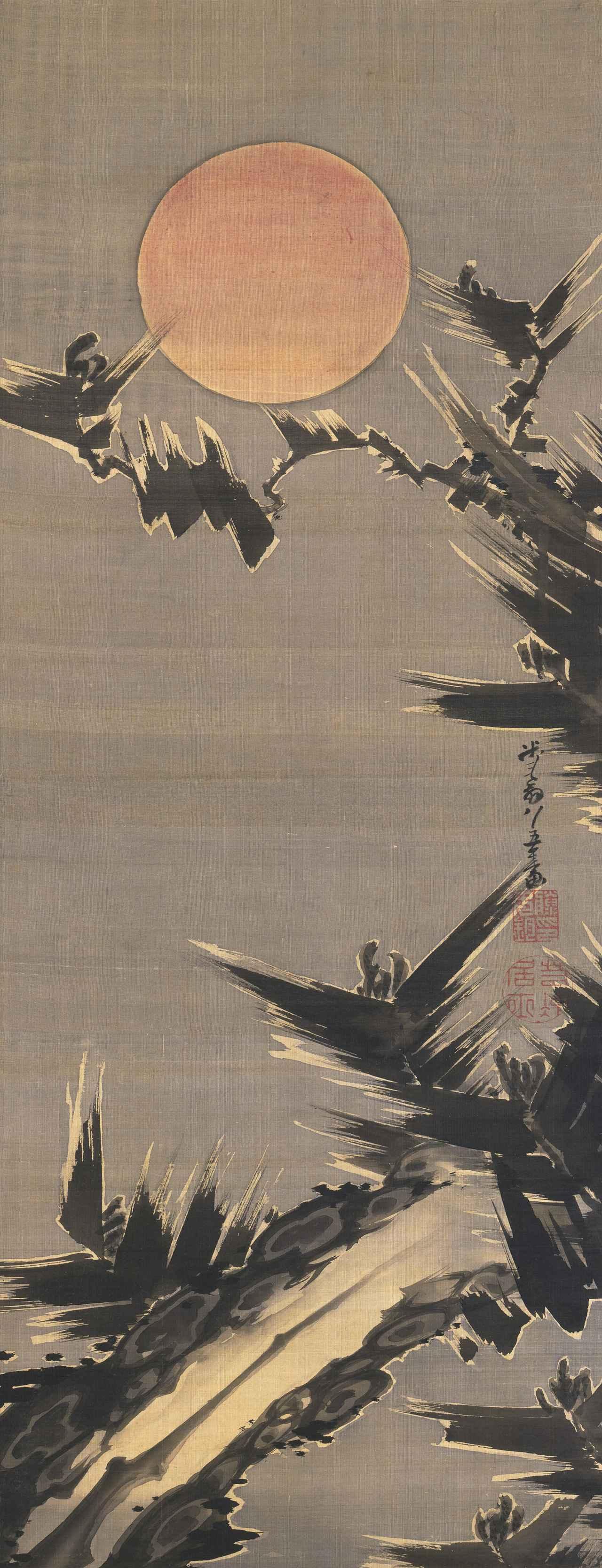 画像: 旭日老松図 伊藤若冲 一幅、紙本墨画淡彩 101.6×38.9cm 江戸時代、寛政12年(1800) Gift of the Clark Center for Japanese Art & Culture Photo: Minneapolis Institute of Art