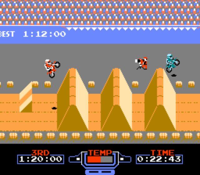 画像: ファミコンこと、任天堂ファミリーコンピュータ用「エキサイトバイク」。 famicon.s348.xrea.com