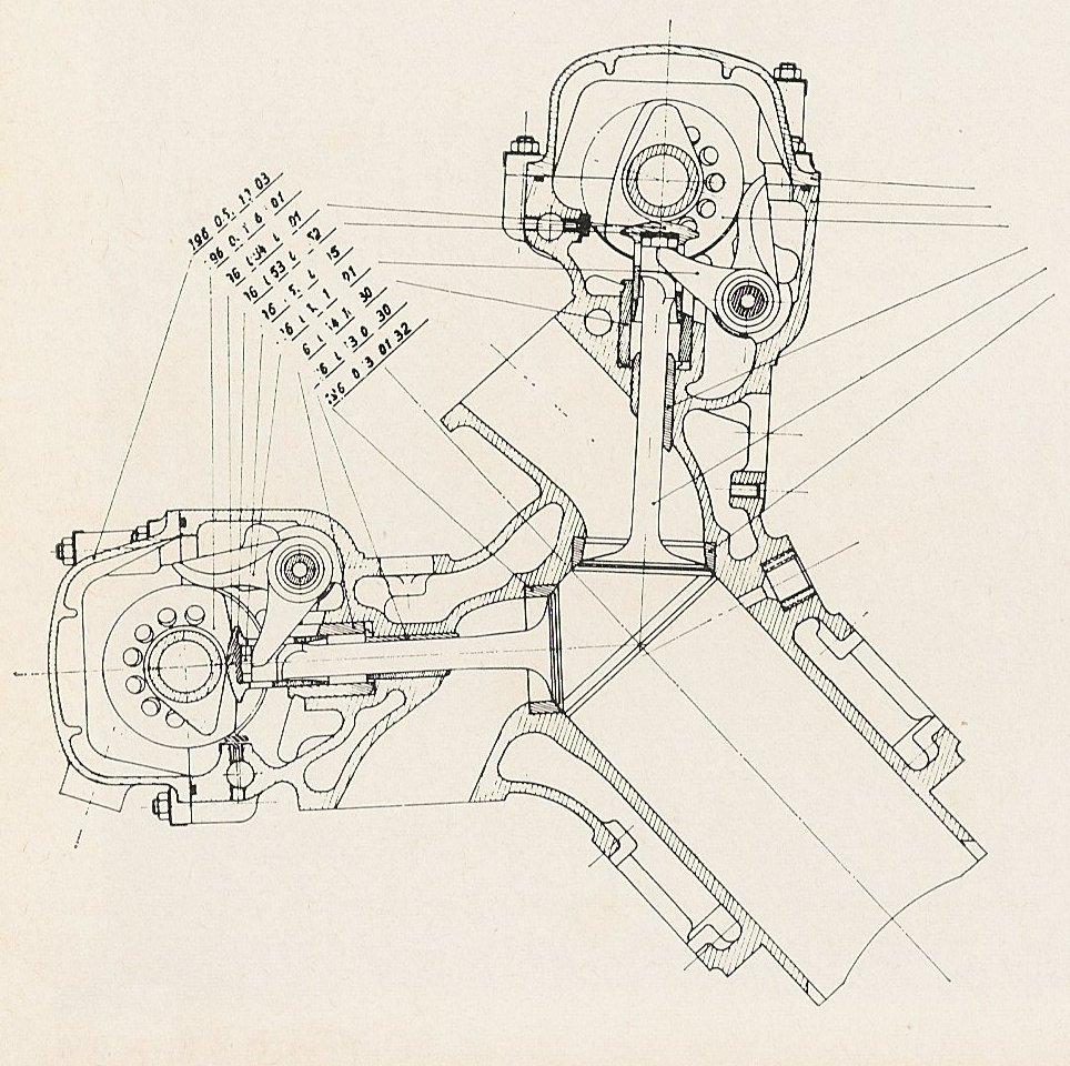 画像: メルセデス・ベンツW196のデスモドロミック機構。「コの字」バルブステムの形状が特徴です。 simanaitissays.files.wordpress.com