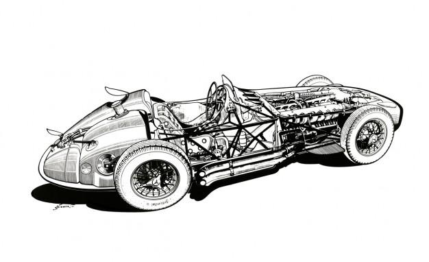 画像: メルセデス・ベンツW196の透視図。2.5リッター8気筒で、290馬力を発揮。ファン・マニュエル・ファンジオやスターリング・モスがF1で大活躍した名機です。 blog.caranddriver.com