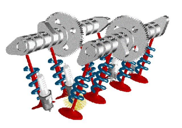 画像: 4ストロークDOHCの動弁系の構造図。バルブスプリング(青色)がカムシャフト(上側2本の灰色のパーツ)とともに、吸気・排気バルブの動きを制御します。 www.cap-ny153.org