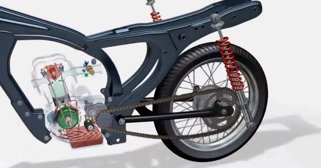 画像: 後輪の懸架方式はスイングアーム。リアショックは2本式。フレーム形式はクランクケースをストレスメンバーに用いるオープンクレードルですね。