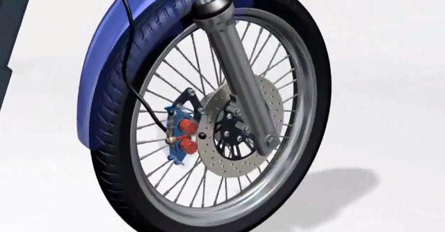 画像: フロントブレーキはシングルディスクタイプ。フロントフォークは最もポピュラーな形式と言えるテレスコピックタイプです。