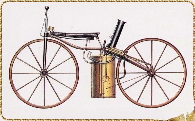画像: シルベスター・H.ローパーの蒸気ベロシペード。こちらは1869年のモデルです。 daimlermotorcycle.com