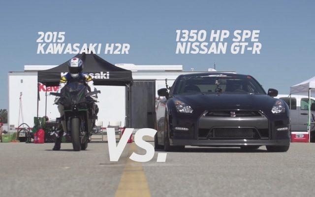 画像: 1350hpの日産 GT-R、カワサキ ニンジャ H2R と加速対決[動画]