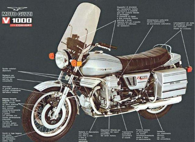 画像: モトグッツィのV1000コンバート。変速機にはトルクコンバーターを採用。1975年から1982年までラインアップされていました。 www.motorcyclespecs.co.za