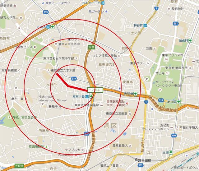 画像: 中心の赤ラインがまつり開催中心地、円が最も小さい範囲は車両通行ほぼ不可。通れても渋滞覚悟。大きい円部分あたりにも駐車場状況等、車両関連への影響が予想されます。