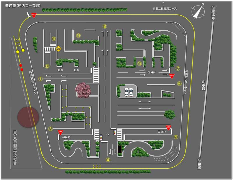 画像: ●上記コース図は、実際のコースのイメージです。距離や道路幅などは、原寸を縮尺したものではありません。 www.hinomaru-ds.co.jp