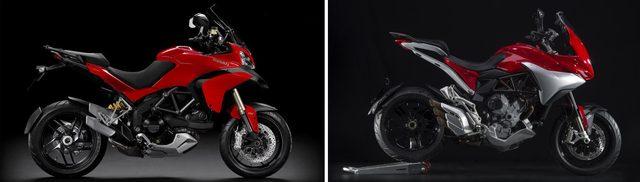 画像: Ducati Multistraada 1200(左)とMV Agusuta TURISMO VELOCE 800 LUSSO(右)